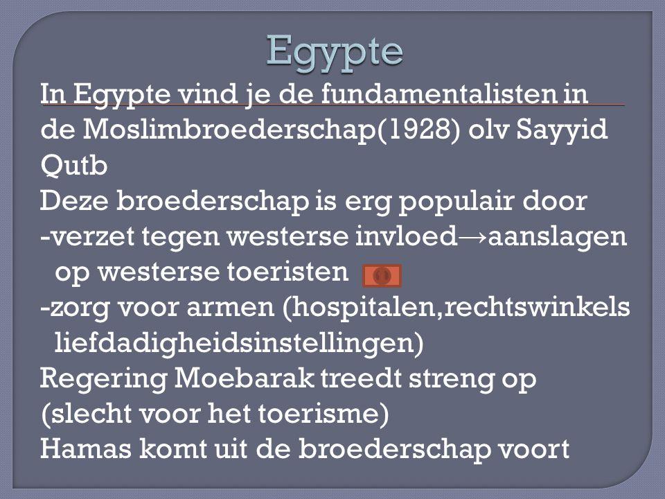 In Egypte vind je de fundamentalisten in de Moslimbroederschap(1928) olv Sayyid Qutb Deze broederschap is erg populair door -verzet tegen westerse inv