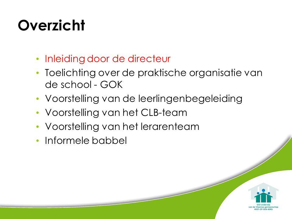 Overzicht Inleiding door de directeur Toelichting over de praktische organisatie van de school - GOK Voorstelling van de leerlingenbegeleiding Voorstelling van het CLB-team Voorstelling van het lerarenteam Informele babbel