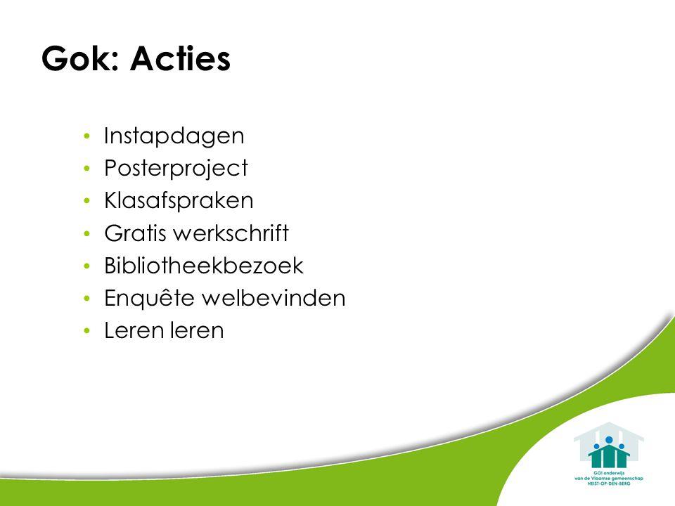 Gok: Acties Instapdagen Posterproject Klasafspraken Gratis werkschrift Bibliotheekbezoek Enquête welbevinden Leren leren