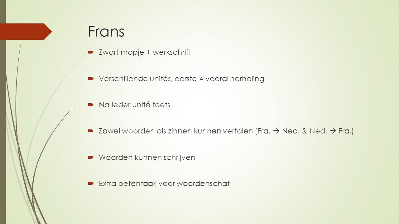 Frans  Zwart mapje + werkschrift  Verschillende unités, eerste 4 vooral herhaling  Na ieder unité toets  Zowel woorden als zinnen kunnen vertalen