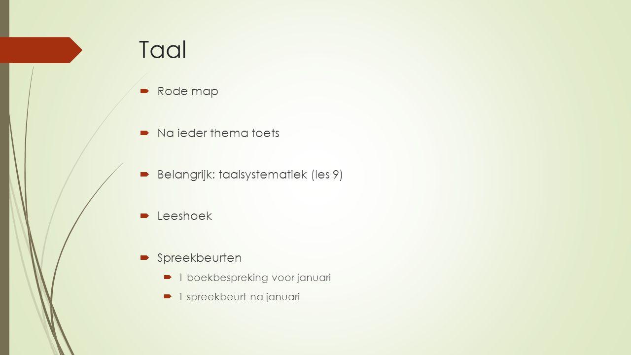 Taal  Rode map  Na ieder thema toets  Belangrijk: taalsystematiek (les 9)  Leeshoek  Spreekbeurten  1 boekbespreking voor januari  1 spreekbeur