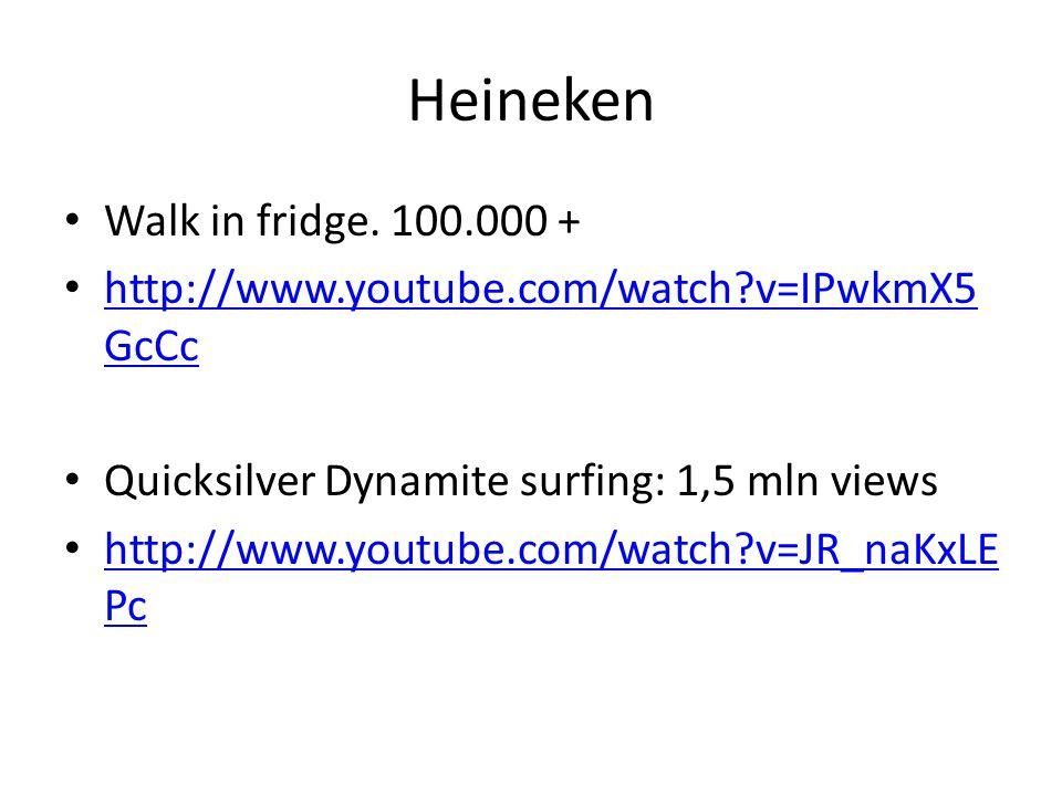 Heineken Walk in fridge. 100.000 + http://www.youtube.com/watch?v=IPwkmX5 GcCc http://www.youtube.com/watch?v=IPwkmX5 GcCc Quicksilver Dynamite surfin