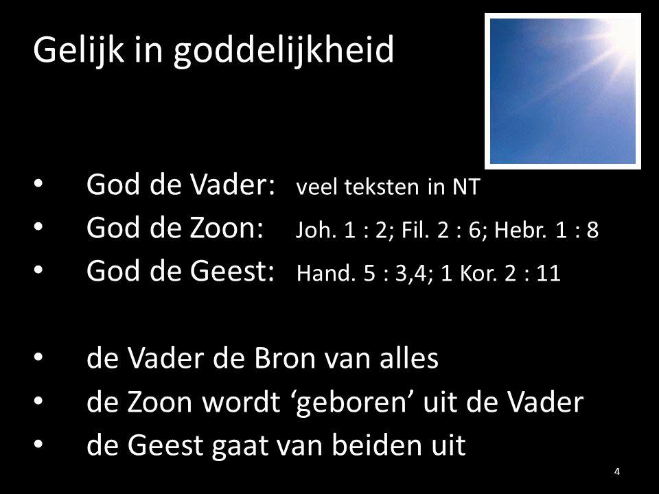 Gelijk in goddelijkheid God de Vader: veel teksten in NT God de Zoon: Joh. 1 : 2; Fil. 2 : 6; Hebr. 1 : 8 God de Geest: Hand. 5 : 3,4; 1 Kor. 2 : 11 d