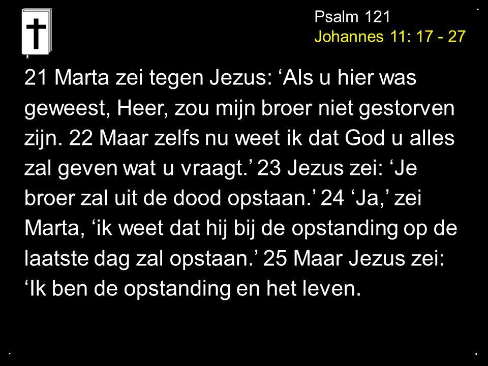 .... Psalm 121 Johannes 11: 17 - 27 21 Marta zei tegen Jezus: 'Als u hier was geweest, Heer, zou mijn broer niet gestorven zijn. 22 Maar zelfs nu weet