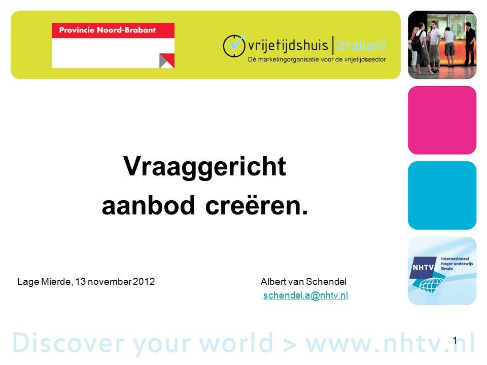Vraaggericht aanbod creëren. Lage Mierde, 13 november 2012Albert van Schendel schendel.a@nhtv.nl 1