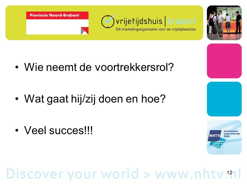 Wie neemt de voortrekkersrol Wat gaat hij/zij doen en hoe Veel succes!!! 12