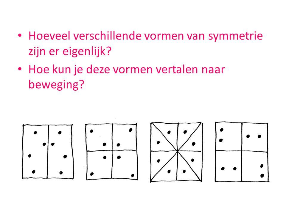 Hoeveel verschillende vormen van symmetrie zijn er eigenlijk? Hoe kun je deze vormen vertalen naar beweging?