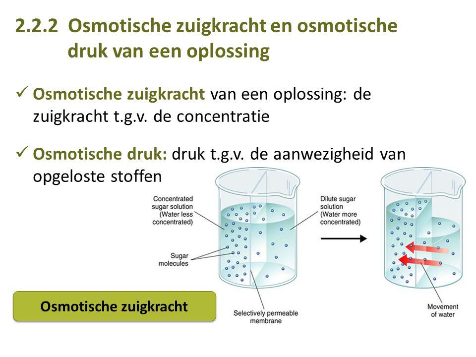 2.2.2 Osmotische zuigkracht en osmotische druk van een oplossing Osmotische zuigkracht van een oplossing: de zuigkracht t.g.v.
