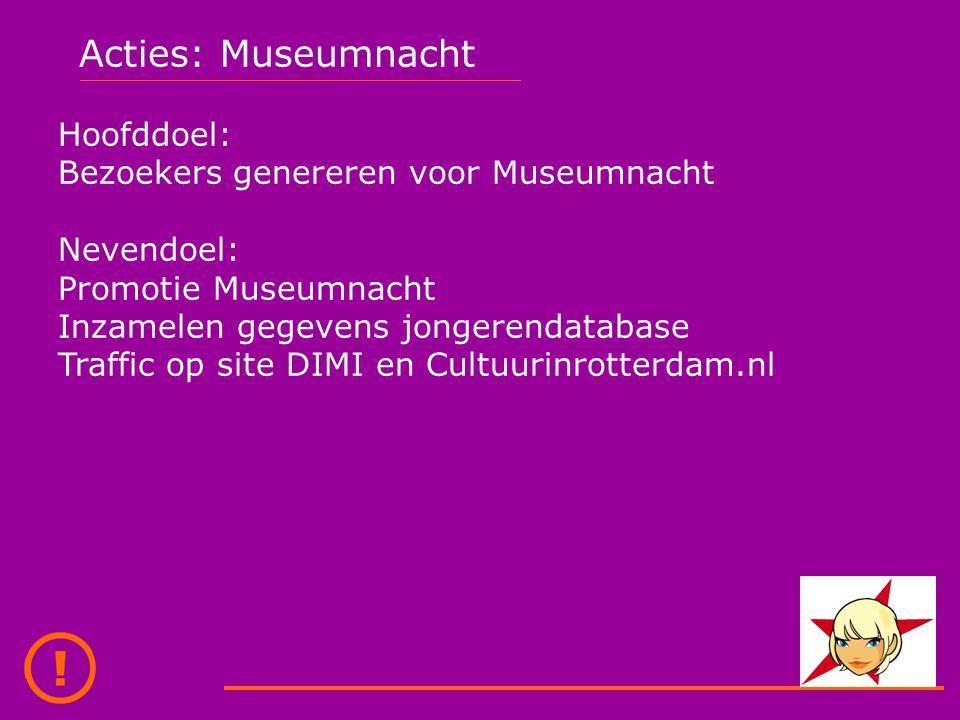 Acties: Museumnacht Hoofddoel: Bezoekers genereren voor Museumnacht Nevendoel: Promotie Museumnacht Inzamelen gegevens jongerendatabase Traffic op site DIMI en Cultuurinrotterdam.nl