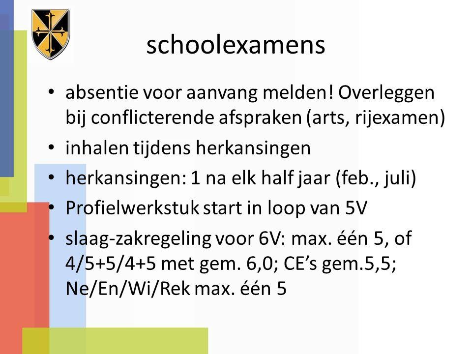 schoolexamens absentie voor aanvang melden.