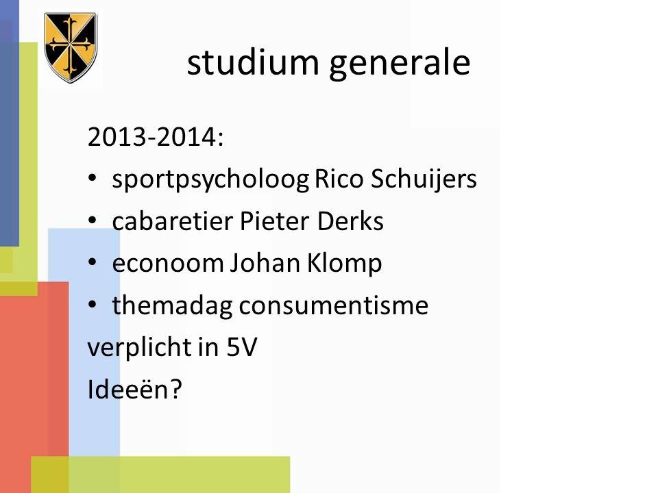 studium generale 2013-2014: sportpsycholoog Rico Schuijers cabaretier Pieter Derks econoom Johan Klomp themadag consumentisme verplicht in 5V Ideeën?