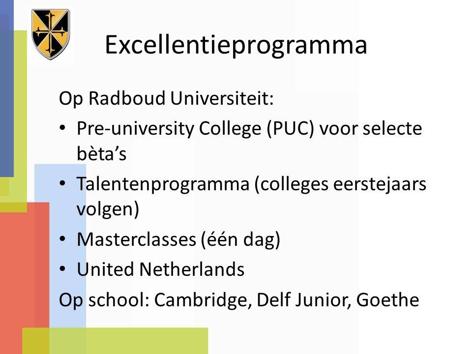 Excellentieprogramma Op Radboud Universiteit: Pre-university College (PUC) voor selecte bèta's Talentenprogramma (colleges eerstejaars volgen) Masterclasses (één dag) United Netherlands Op school: Cambridge, Delf Junior, Goethe
