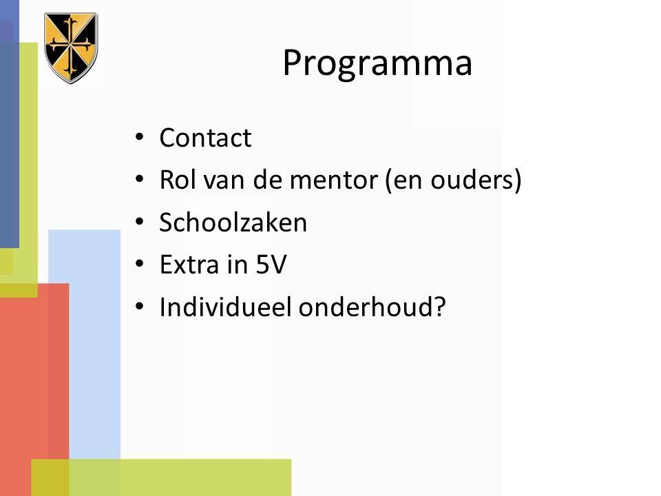 Programma Contact Rol van de mentor (en ouders) Schoolzaken Extra in 5V Individueel onderhoud
