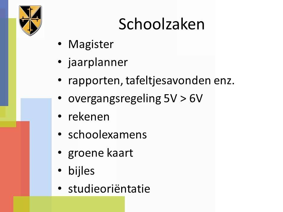 Schoolzaken Magister jaarplanner rapporten, tafeltjesavonden enz.