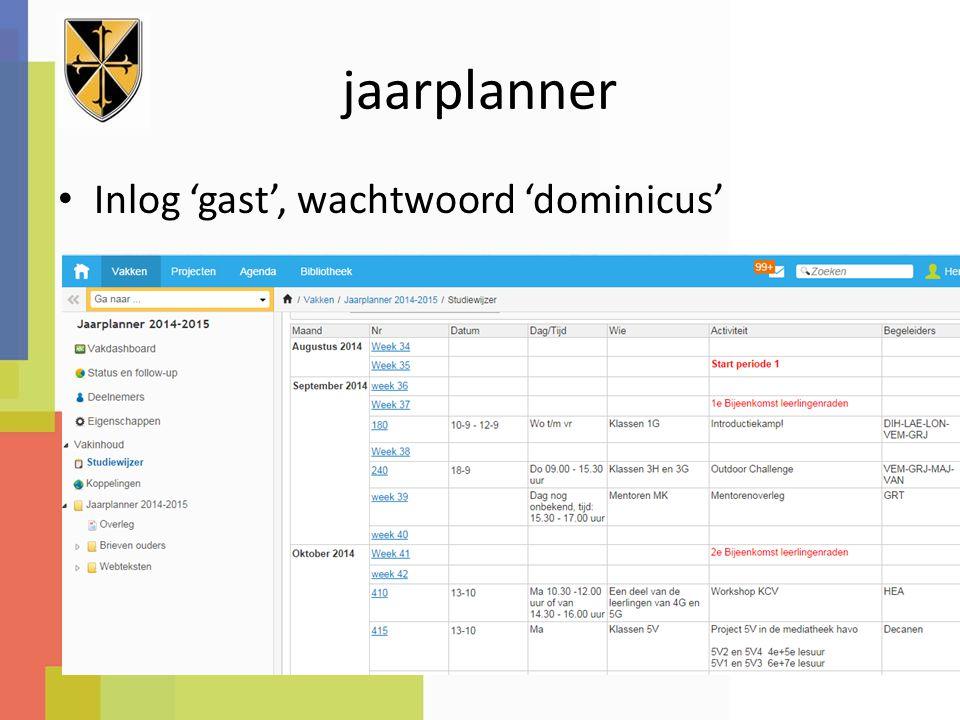 jaarplanner Inlog 'gast', wachtwoord 'dominicus'