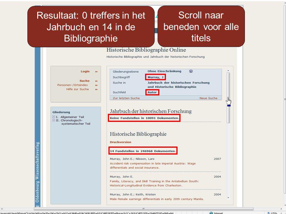 Resultaat: 0 treffers in het Jahrbuch en 14 in de Bibliographie Scroll naar beneden voor alle titels