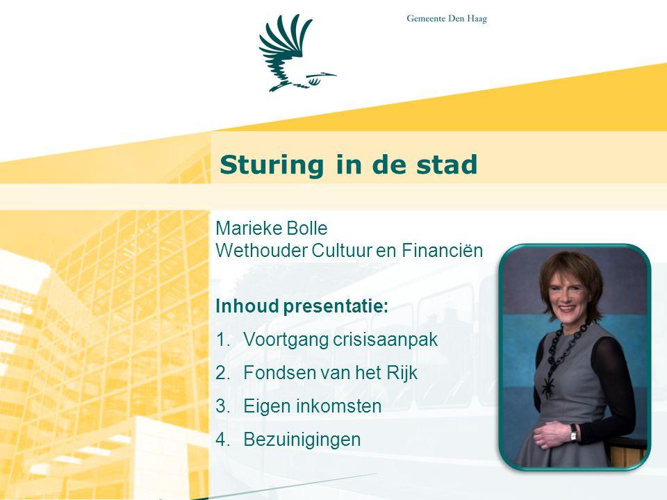 Sturing in de stad Marieke Bolle Wethouder Cultuur en Financiën Inhoud presentatie: 1.Voortgang crisisaanpak 2.Fondsen van het Rijk 3.Eigen inkomsten