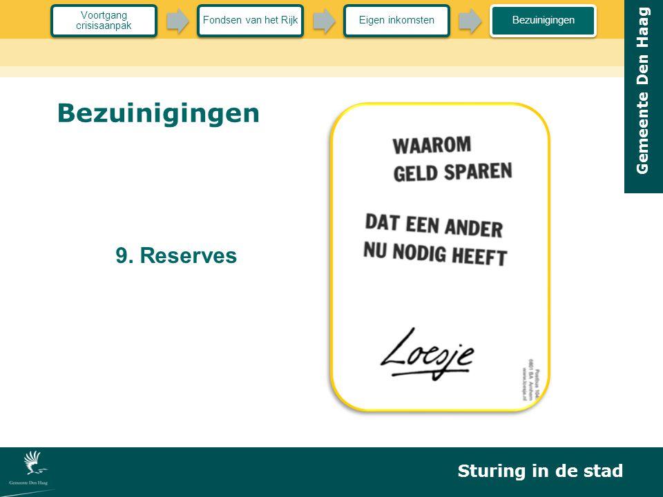 Gemeente Den Haag Bezuinigingen 9. Reserves Sturing in de stad