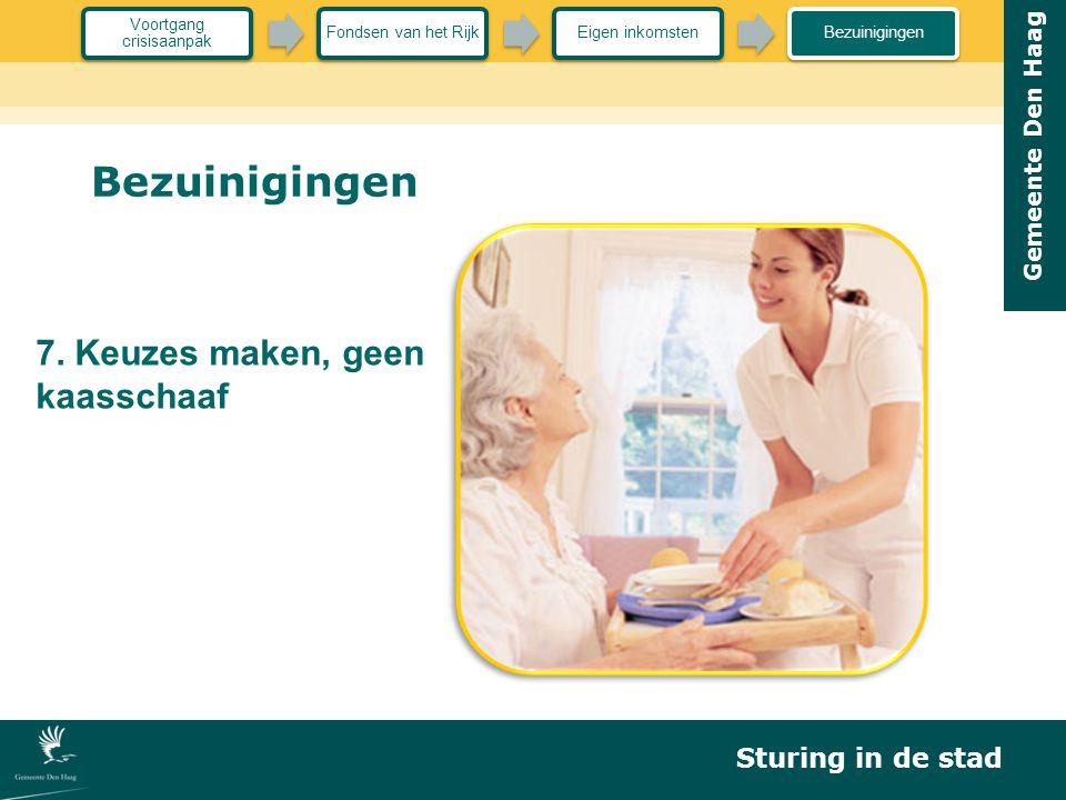 Gemeente Den Haag Bezuinigingen 7. Keuzes maken, geen kaasschaaf Sturing in de stad