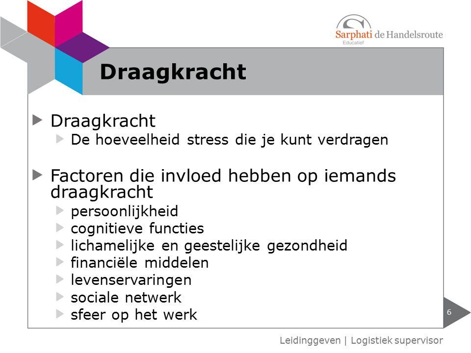 Leidinggeven   Logistiek supervisor Draagkracht 6 De hoeveelheid stress die je kunt verdragen Factoren die invloed hebben op iemands draagkracht perso