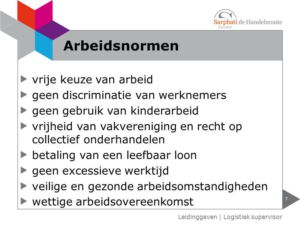 Leidinggeven   Logistiek supervisor Arbeidsnormen 7 vrije keuze van arbeid geen discriminatie van werknemers geen gebruik van kinderarbeid vrijheid va