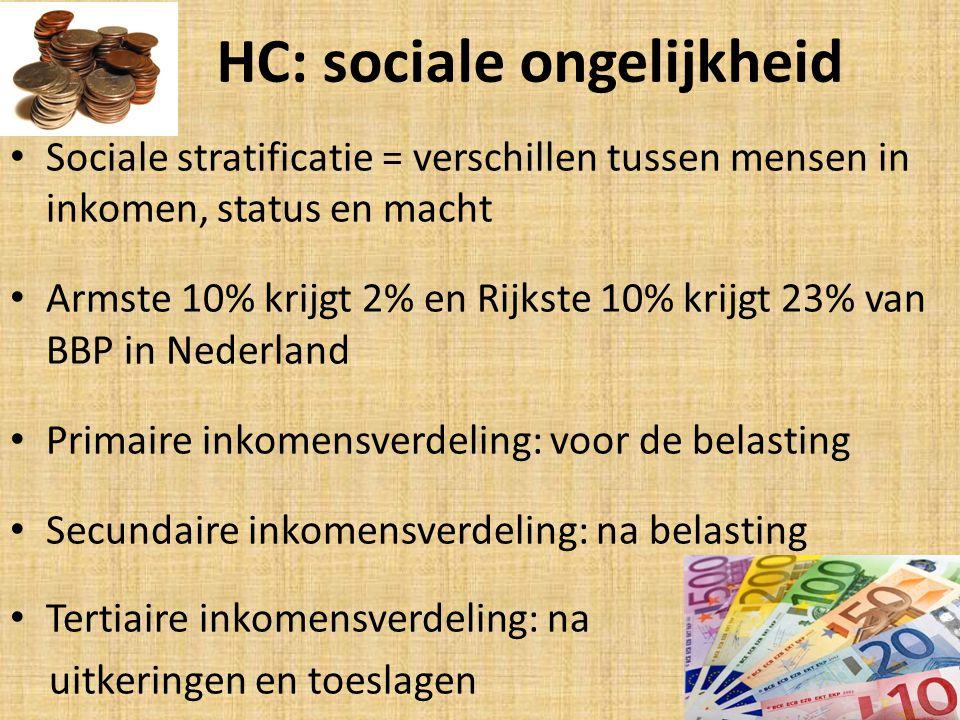 HC: sociale ongelijkheid Sociale stratificatie = verschillen tussen mensen in inkomen, status en macht Armste 10% krijgt 2% en Rijkste 10% krijgt 23% van BBP in Nederland Primaire inkomensverdeling: voor de belasting Secundaire inkomensverdeling: na belasting Tertiaire inkomensverdeling: na uitkeringen en toeslagen