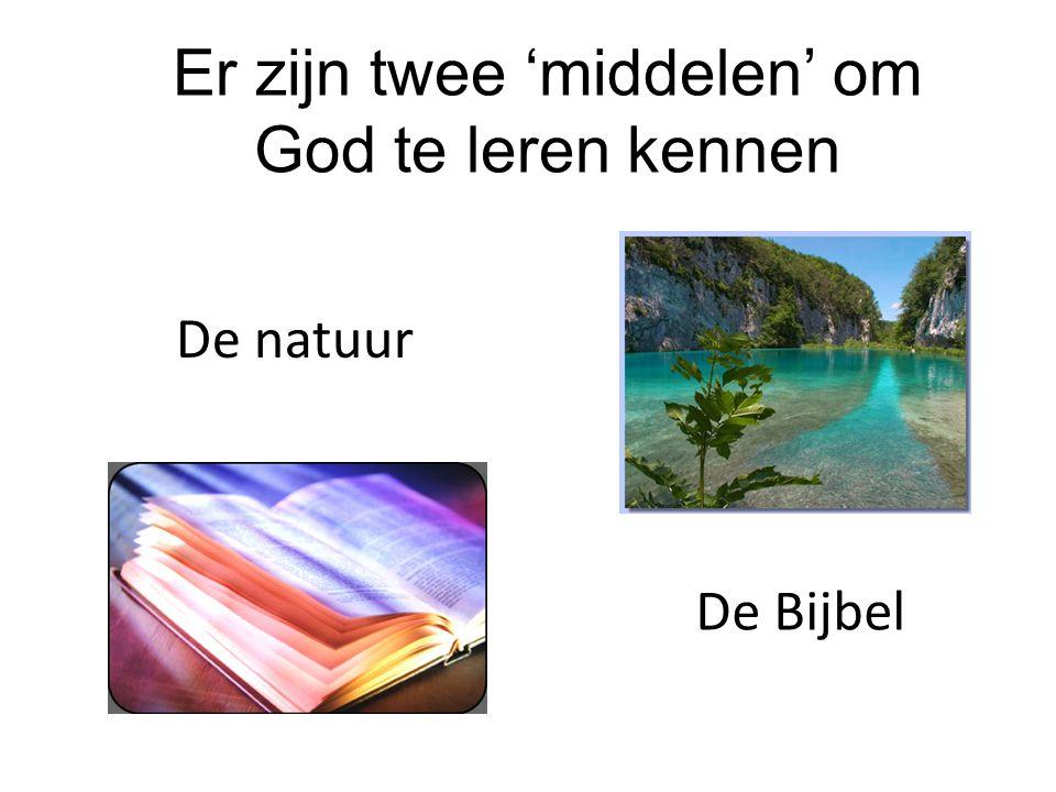 Er zijn twee 'middelen' om God te leren kennen De Bijbel De natuur