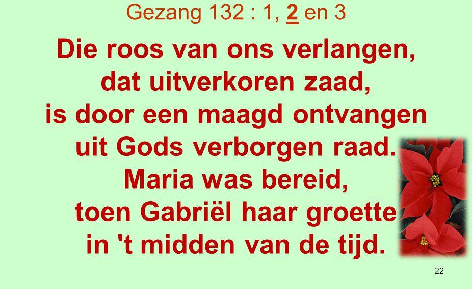 Gezang 132 : 1, 2 en 3 Die bloem van Gods behagen heeft, naar Jesaja sprak, de winterkou verdragen als allerdorste tak.