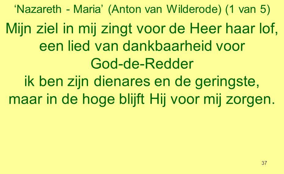 'Nazareth - Maria' (Anton van Wilderode) (2 van 5) Ik mag mij voor altijd gelukkig noemen tezamen met de komende geslachten, want Hij die heilig is, Heer-in-de-hemel, heeft mij zijn liefde grotelijks bewezen.