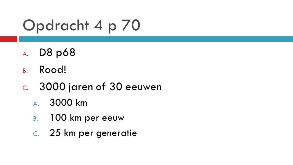 Opdracht 4 p 70 A. D8 p68 B. Rood! C. 3000 jaren of 30 eeuwen A. 3000 km B. 100 km per eeuw C. 25 km per generatie