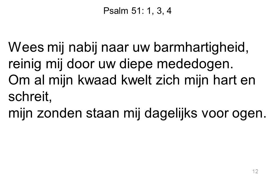 Psalm 51: 1, 3, 4 Wees mij nabij naar uw barmhartigheid, reinig mij door uw diepe mededogen. Om al mijn kwaad kwelt zich mijn hart en schreit, mijn zo