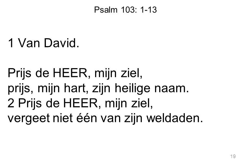 Psalm 103: 1-13 1 Van David. Prijs de HEER, mijn ziel, prijs, mijn hart, zijn heilige naam. 2 Prijs de HEER, mijn ziel, vergeet niet één van zijn weld