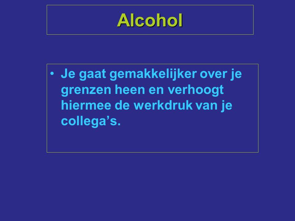 Alcohol Je gaat gemakkelijker over je grenzen heen en verhoogt hiermee de werkdruk van je collega's.