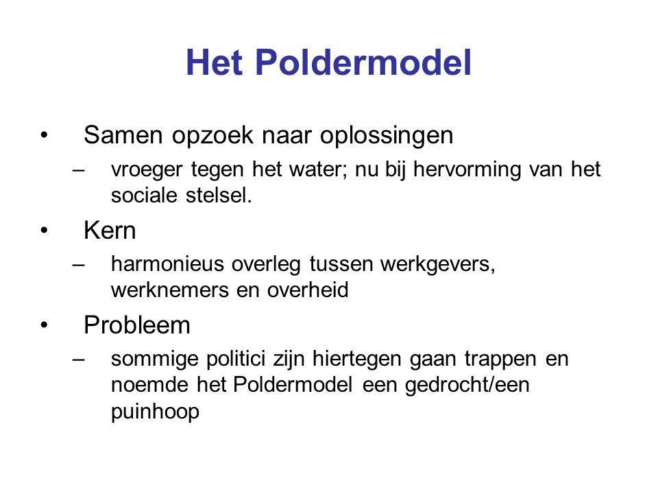 Het Poldermodel Samen opzoek naar oplossingen –vroeger tegen het water; nu bij hervorming van het sociale stelsel. Kern –harmonieus overleg tussen wer