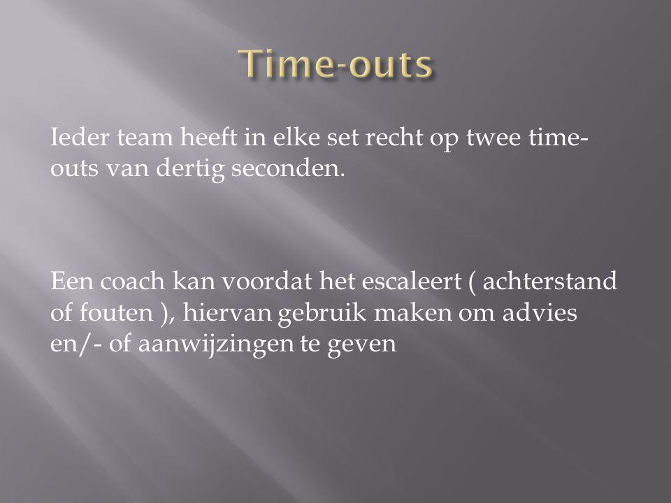 Ieder team heeft in elke set recht op twee time- outs van dertig seconden. Een coach kan voordat het escaleert ( achterstand of fouten ), hiervan gebr
