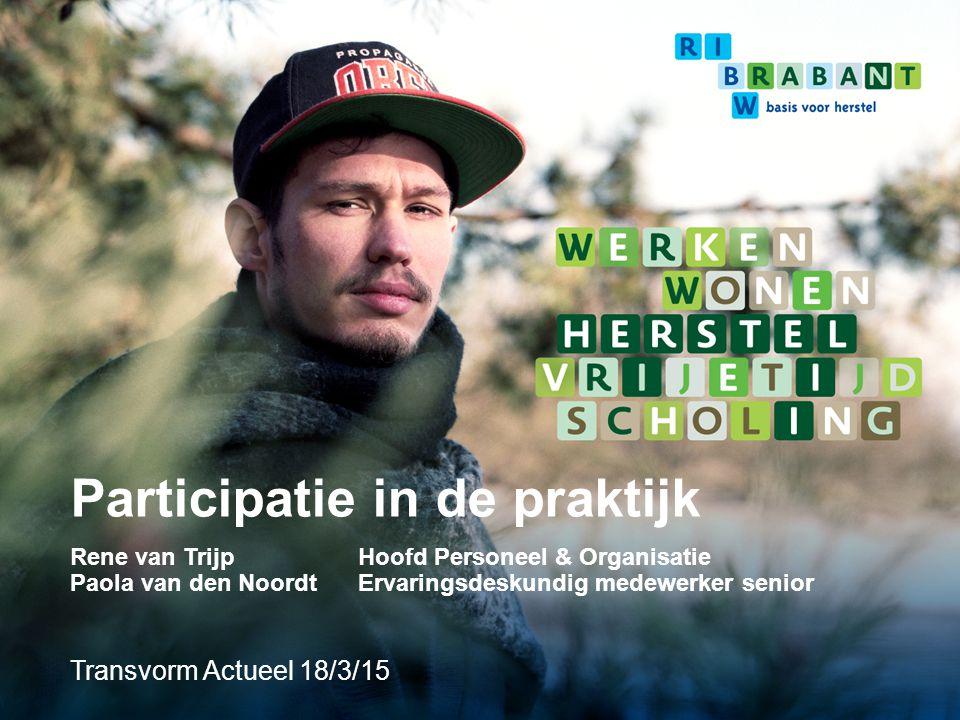 Inhoud RIBW Brabant Participatie binnen RIBW Brabant Twee praktijkvoorbeelden Aan het woord: Paola van den Noordt - Ervaringsdeskundig medewerker senior Wat levert deze participatie ons op.