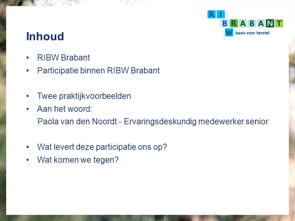 Inhoud RIBW Brabant Participatie binnen RIBW Brabant Twee praktijkvoorbeelden Aan het woord: Paola van den Noordt - Ervaringsdeskundig medewerker seni