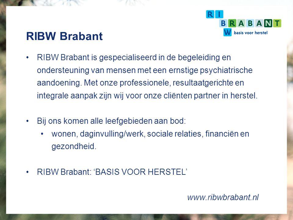 RIBW Brabant Werkgebied geconcentreerd in Midden-Brabant Werkend in wijkteams - 9 Gemeenten 1000 cliënten 480 medewerkers waarvan 6 ervaringsdeskundigen en 6 leerlingen ervaringsdeskundigen 40 vrijwilligers waarvan 14 ervaringsdeskundigen 30 stagiaires Cliënttevredenheid 7,7 – 7,9 Medewerkertevredenheid 7,7