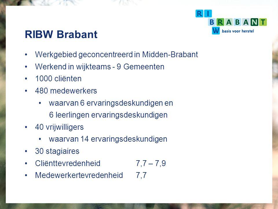 RIBW Brabant Werkgebied geconcentreerd in Midden-Brabant Werkend in wijkteams - 9 Gemeenten 1000 cliënten 480 medewerkers waarvan 6 ervaringsdeskundig