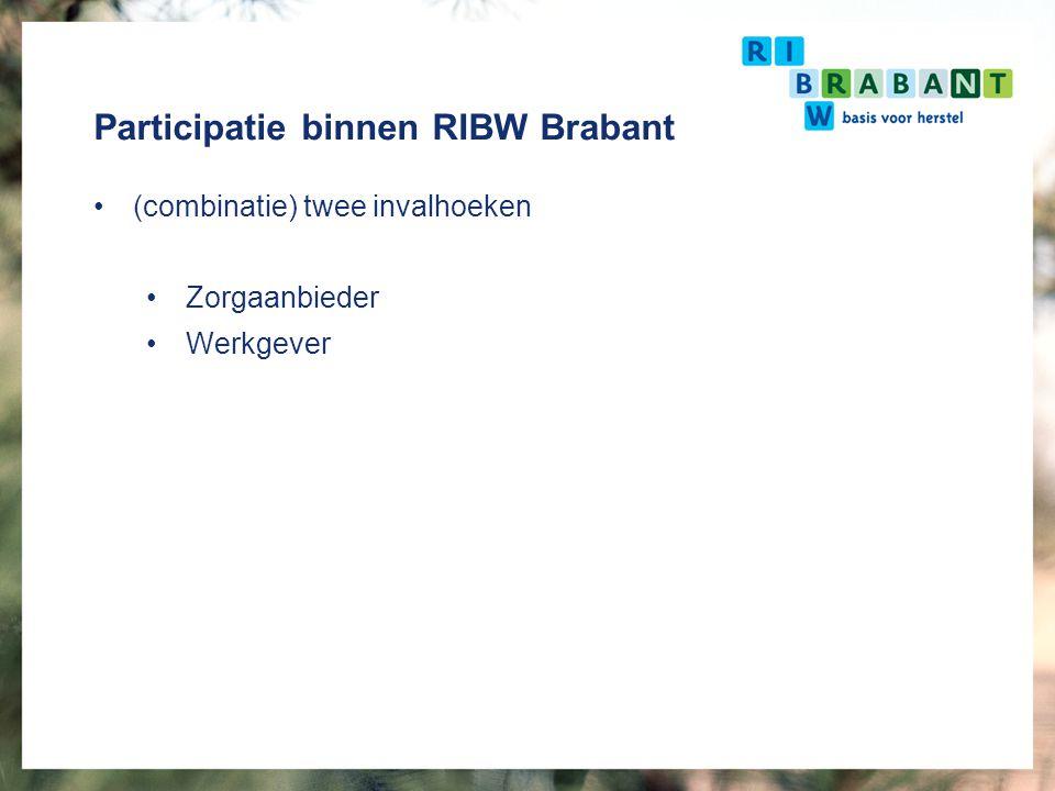 Participatie binnen RIBW Brabant (combinatie) twee invalhoeken Zorgaanbieder Werkgever