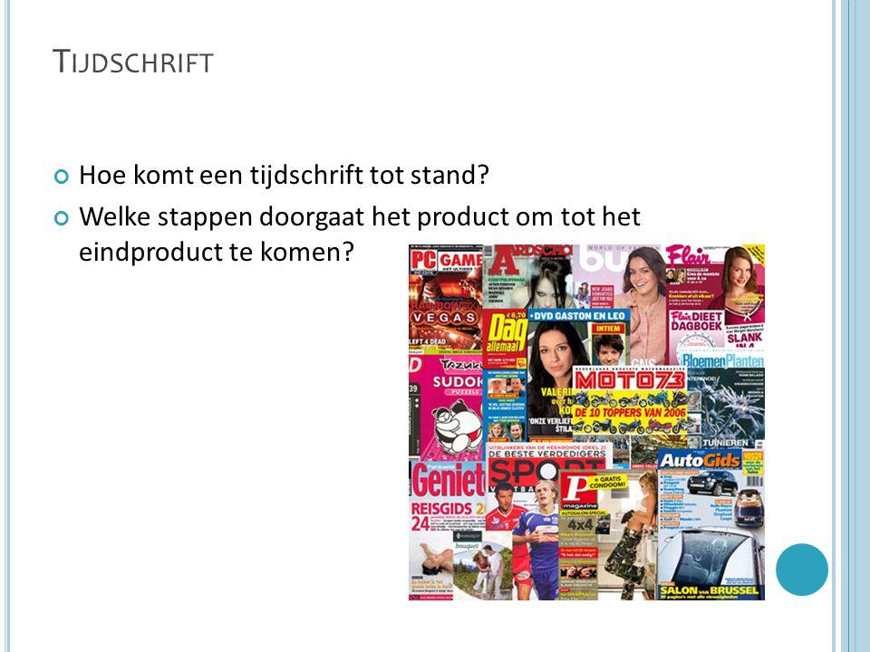 T IJDSCHRIFT Hoe komt een tijdschrift tot stand? Welke stappen doorgaat het product om tot het eindproduct te komen?