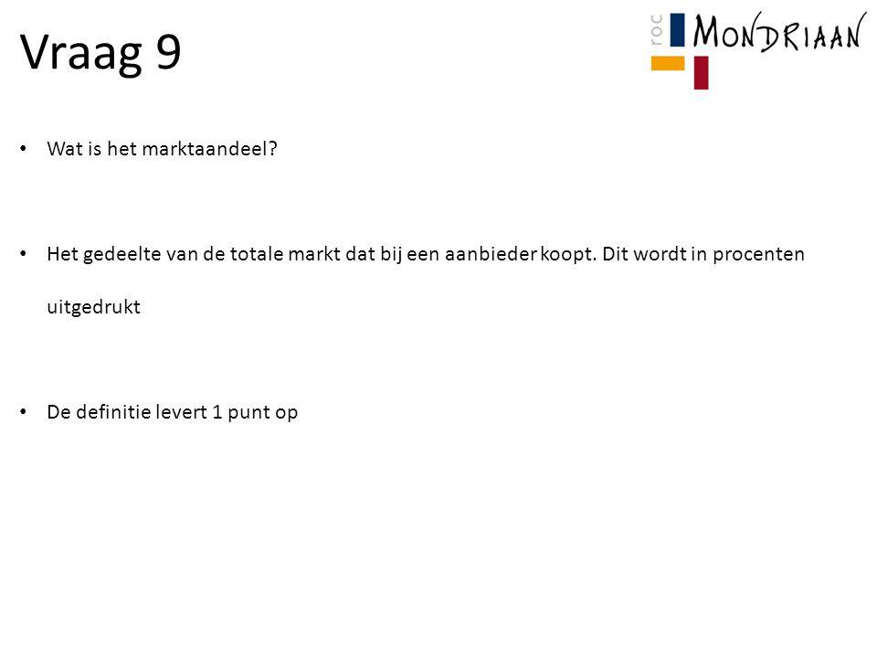 Vraag 9 Wat is het marktaandeel.Het gedeelte van de totale markt dat bij een aanbieder koopt.