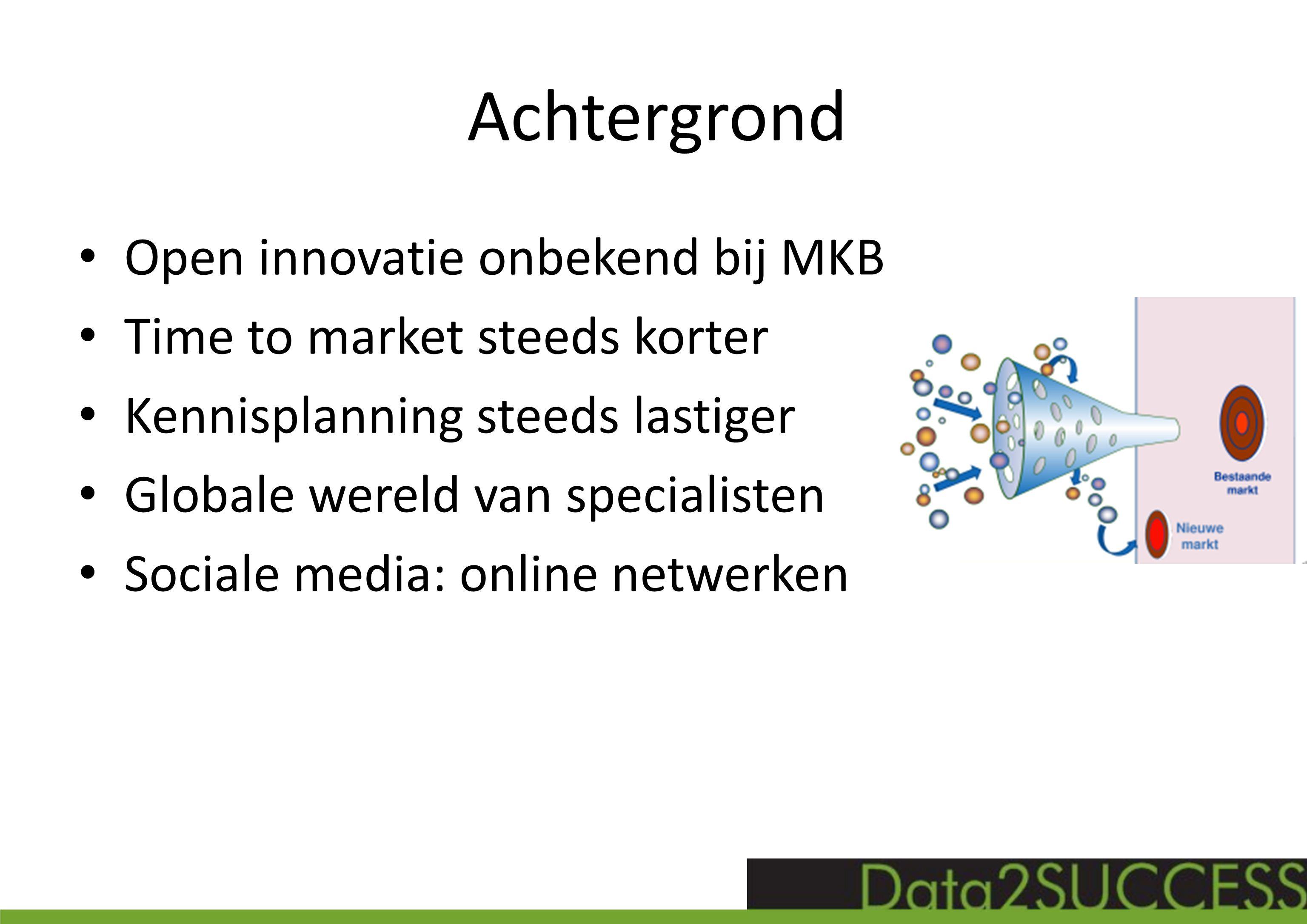 Achtergrond Open innovatie onbekend bij MKB Time to market steeds korter Kennisplanning steeds lastiger Globale wereld van specialisten Sociale media: online netwerken