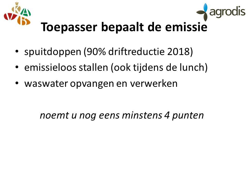 Toepasser bepaalt de emissie spuitdoppen (90% driftreductie 2018) emissieloos stallen (ook tijdens de lunch) waswater opvangen en verwerken noemt u nog eens minstens 4 punten