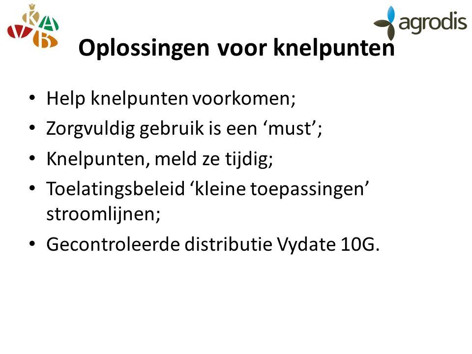Oplossingen voor knelpunten Help knelpunten voorkomen; Zorgvuldig gebruik is een 'must'; Knelpunten, meld ze tijdig; Toelatingsbeleid 'kleine toepassingen' stroomlijnen; Gecontroleerde distributie Vydate 10G.