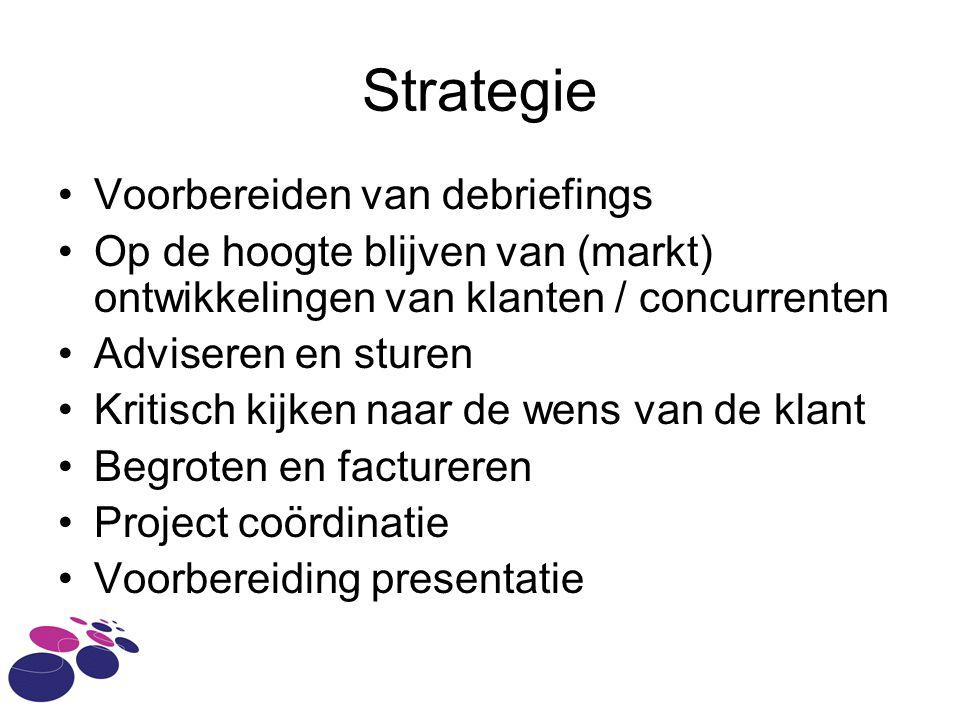 Strategie Voorbereiden van debriefings Op de hoogte blijven van (markt) ontwikkelingen van klanten / concurrenten Adviseren en sturen Kritisch kijken