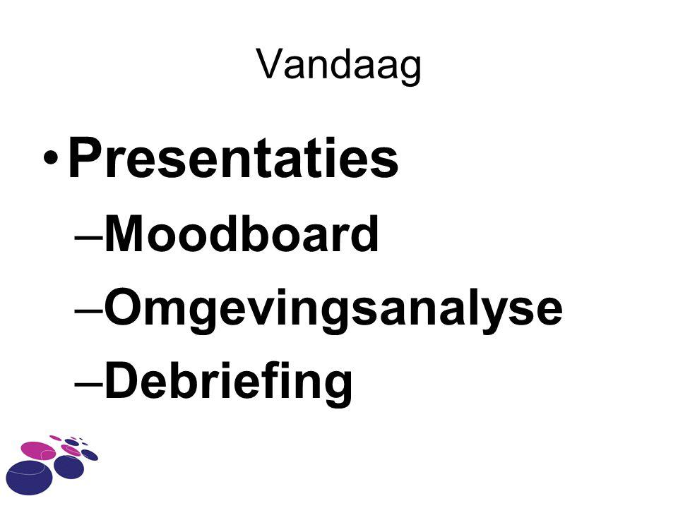 Vandaag Presentaties –Moodboard –Omgevingsanalyse –Debriefing