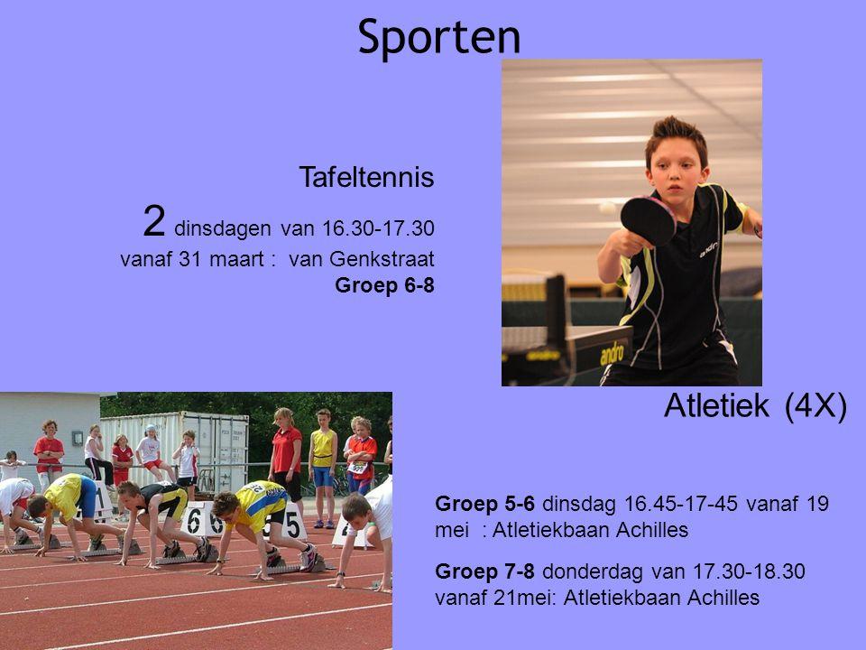 Sporten Atletiek (4X) Groep 5-6 dinsdag 16.45-17-45 vanaf 19 mei : Atletiekbaan Achilles Groep 7-8 donderdag van 17.30-18.30 vanaf 21mei: Atletiekbaan