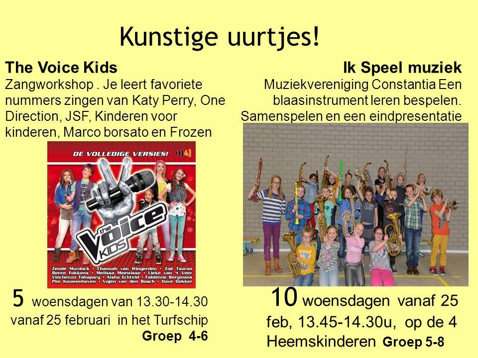 Kunstige uurtjes! 10 woensdagen vanaf 25 feb, 13.45-14.30u, op de 4 Heemskinderen Groep 5-8 Ik Speel muziek Muziekvereniging Constantia Een blaasinstr