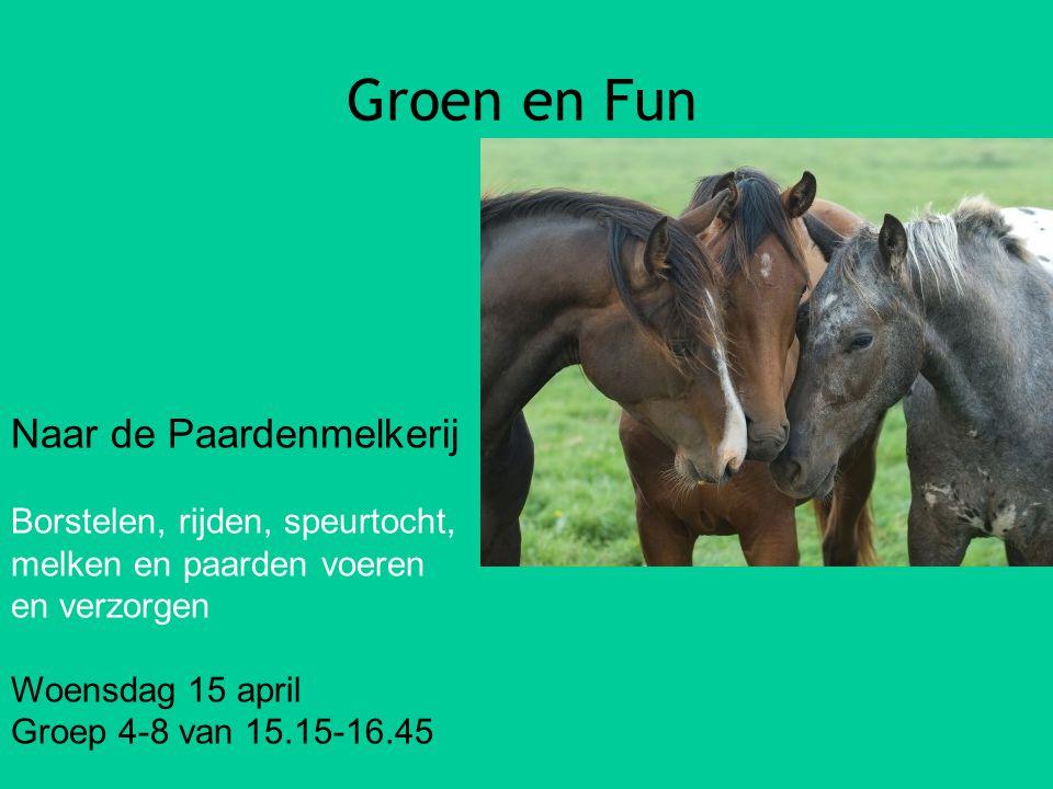 Groen en Fun Naar de Paardenmelkerij Borstelen, rijden, speurtocht, melken en paarden voeren en verzorgen Woensdag 15 april Groep 4-8 van 15.15-16.45